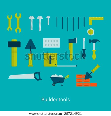 Vector flat icon tools and materials for the repair and construction - stock vector