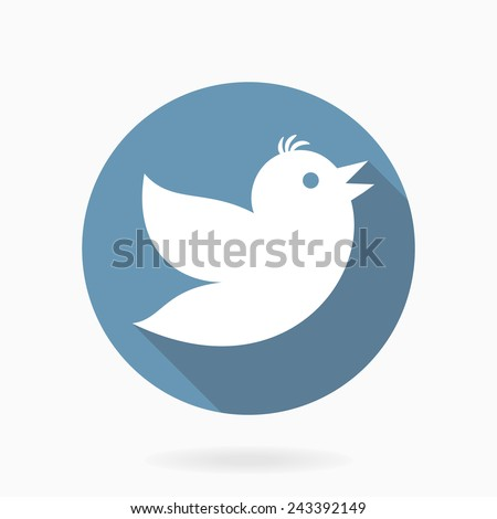 Vector flat icon with flying white bird in blue circle with long shadow - stock vector
