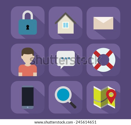 vector flat icons - stock vector