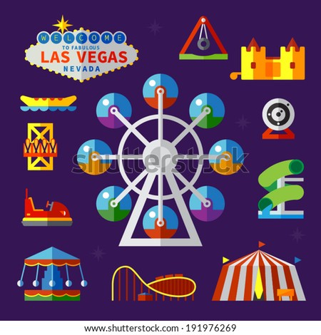 Vector flat  icons and illustrations amusement park
