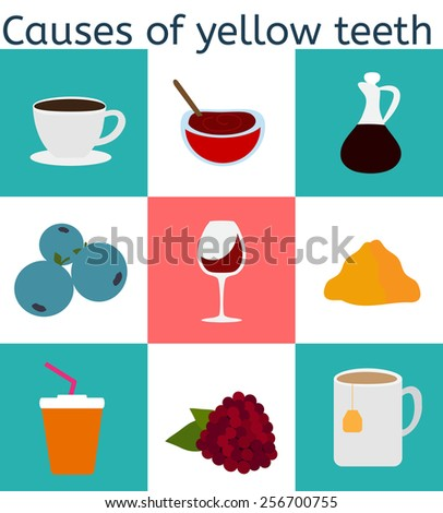 Vector flat icons . Causes of yellow teeth - stock vector