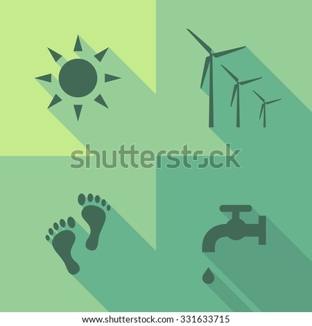 Vector Flat Icons - Ecology - stock vector