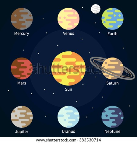 Vector Flat Icons Sun Moon Planets Stock Vector 383530714 ...