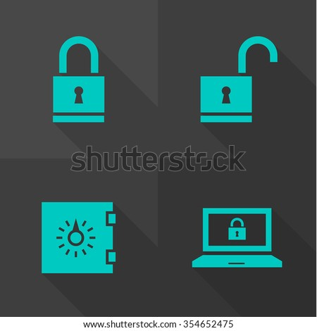 Vector Flat Icons - Security  - stock vector
