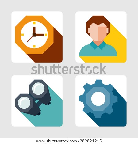 vector flat icons set - stock vector