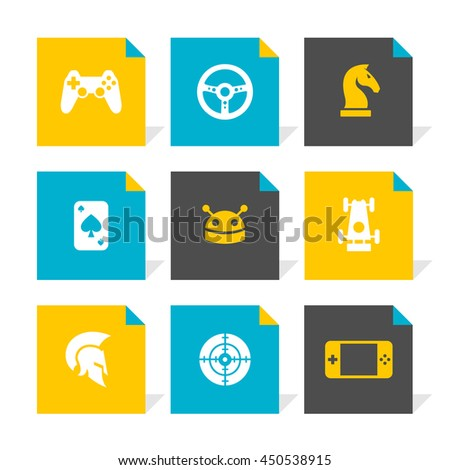 Vector Flat Icons Set - Game - stock vector