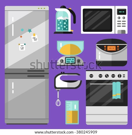 Vector flat icons set of appliance. Fridge, microwave oven, mixer, electric scales, electric kettle, measuring cup, stove, breadmaker or multicooker. Kitchen utensils illustration. - stock vector