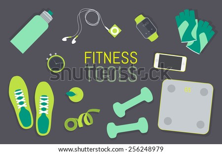 Vector flat icons set of fitness tools, fitness elements. Gym bag essentials, top view. - stock vector
