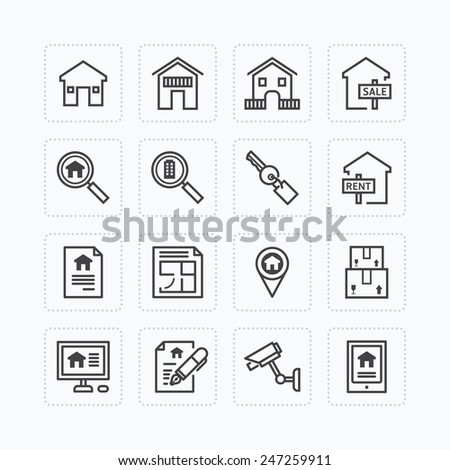 Vector flat icons set of real estate property outline concept. - stock vector