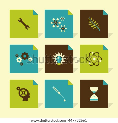 Vector Flat Icons Set - Science - stock vector