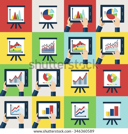 Vector flat icons set. Touch interfaces, diagram, chart on screen. Concept for business, presentation, infographic, report, statistics data, stock exchange, finance, trading charts, investment fund. - stock vector