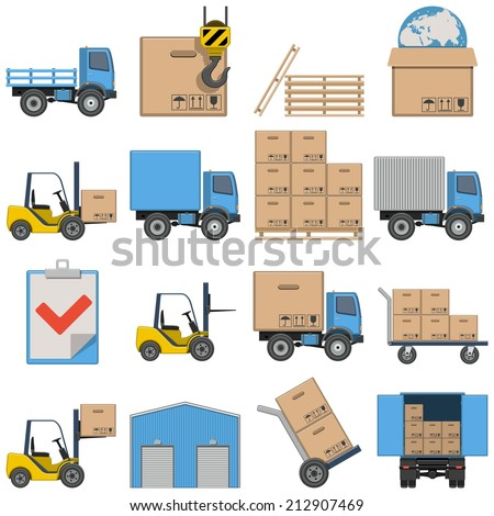 Vector Flat Icons - Shipping - stock vector