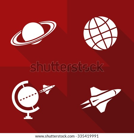 Vector Flat Icons - Space - stock vector