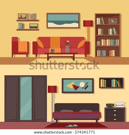 Vector flat illustration banners set abstract isolated for rooms of apartment, house. Home interior design. Parlor, parlour, salon and bedroom modern decoration with paintings, books on the shelves.  - stock vector