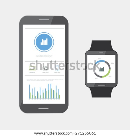 Vector flat illustration concept of smart watch and smartphone gadget.  - stock vector
