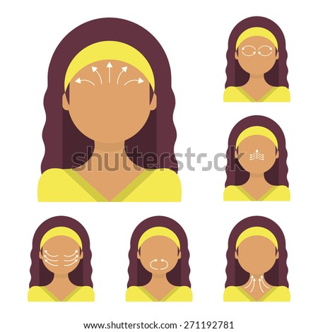 Vector flat illustration: face massage instruction demonstrated on young beautiful Latina woman - stock vector