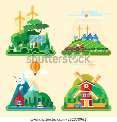 Vector flat illustration - House at the lake. House in the mountains. Wild nature. Ecotourism. Ecology structure. Eco farm. Green energy. - stock vector