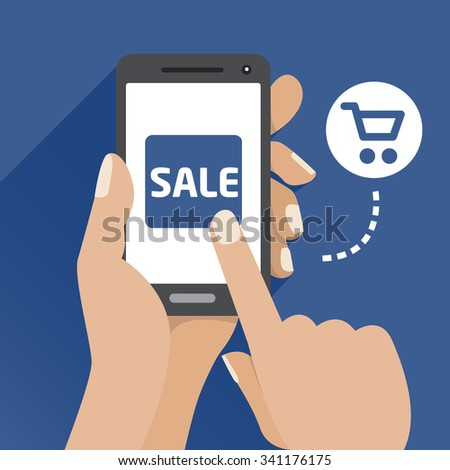 Vector flat illustration icon with the hand and mobile phone  - stock vector