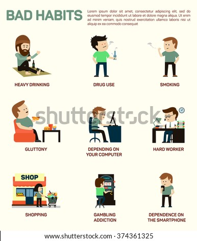 Vector flat illustration infographic of popular bad habits. Alcohol drinking, drug usage, smoking, gluttony with obesity, dependence of computer, smartphone, working hard, shopping, gambling - stock vector