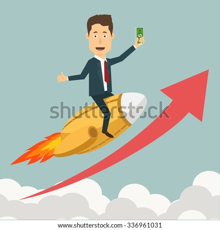 Vector flat illustration of a businessman flying on jet rocket through clouds to the peak highest point. Concept of reaching a goal, growth of savings, moving towards financial stability.