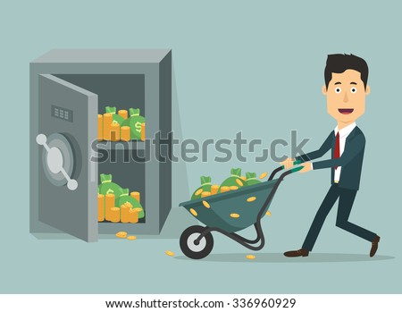 Vector flat illustration of a businessman with hand (wheel)-barrow full of money. Rich man depositing his fortune to bank. Investments for future. Loading money into protected safe. - stock vector