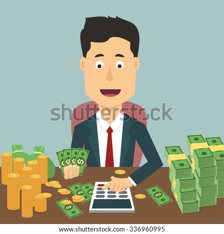 Vector flat illustration of a businessman with pile of money. Rich man counting wealth. Growth of fortune savings - stock vector