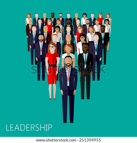 vector flat illustration of a leader and a team. a crowd of men and women (business people or politicians). leadership concept  - stock vector