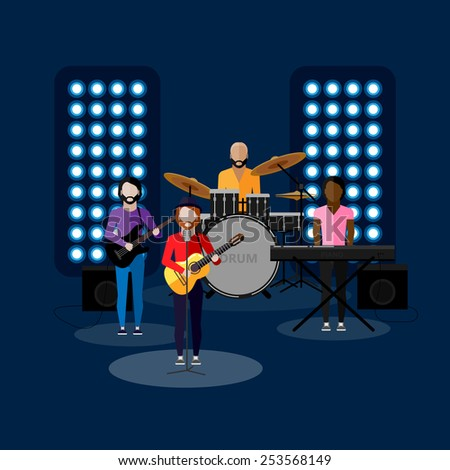 vector flat illustration of a music band on stage. performance or entertainment show  - stock vector