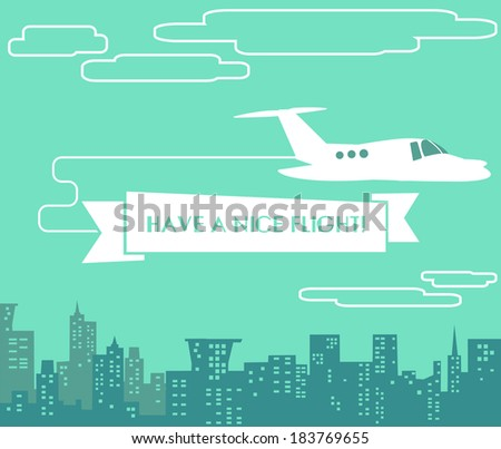 Vector flat illustration of airplane with text banner in front of cityscape - stock vector