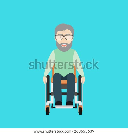 Vector Flat Illustration of an Old Man on a Wheelchair. - stock vector