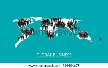vector flat illustration of business people standing on the world global map shape. infographic global business cooperation concept. - stock vector
