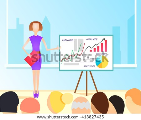 Vector Flat  Illustration of business woman making a presentation with the use of a white board showing pie-charts and graphs. Standup meeting with project team and manager.  - stock vector