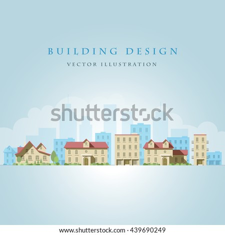 Vector flat illustration of city landscape. Elements are layered separately in vector file. Easy editable.  - stock vector