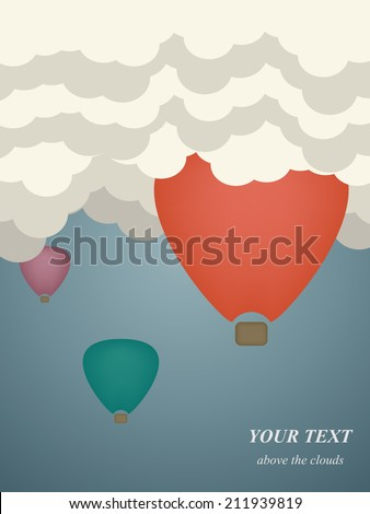 Vector flat illustration of colorful hot air balloons with stripes and baskets in the blue sky. Journey on vacation with flying. Adventure of traveling by the air. Conception of freedom.