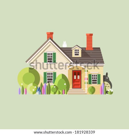 Vector flat illustration of cool detailed yellow house icon isolated on background. Totoro anime cartoon icon. - stock vector