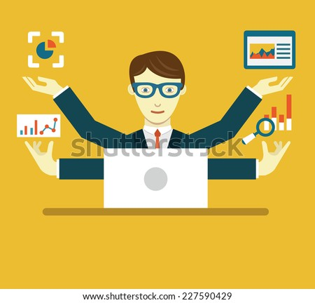 Vector Flat Illustration of Data Specialist with copy space for text - vector illustration - stock vector