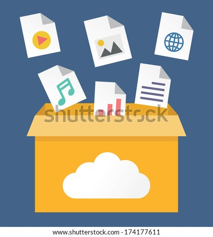 Vector flat illustration of file storage in cloud. Process of transfer information to a cloud network server - vector illustration - stock vector