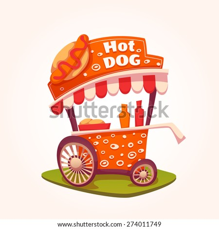 Vector flat illustration of Hot Dog cart. - stock vector