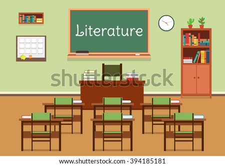 Vector flat illustration of literature classroom at the school, university, institute, college. Lesson for diploma, teaching and learning. School classroom with chalkboard and desks. - stock vector