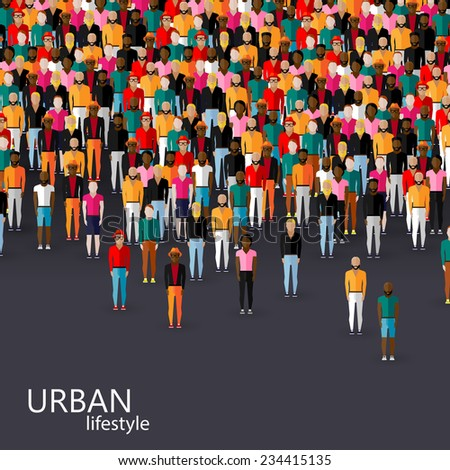 vector flat illustration of male community with a crowd of guys and men. urban lifestyle concept - stock vector