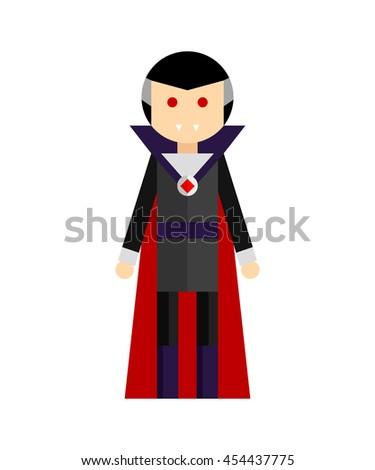 Vector flat illustration of man in vampire costume. Elements for design on white background. - stock vector