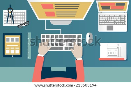 Vector flat illustration of process programming and coding. Web development and equipment - vector illustration