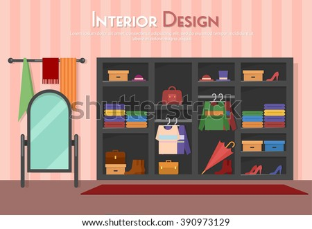 Vector flat illustration of room, with wardrobe, mirror with towels, shelf on the floor, parket with carpet (rug). Shoes on heels, boots, packs, bag, umbrella, cloth, shirt,  in home, apartment,  - stock vector
