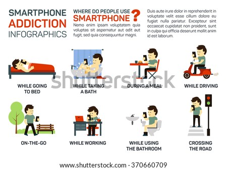 Vector flat illustration of smartphone addiction. Danger of using it when going to bed, having a meal, driving, working, walking, taking a bath, crossing a road. Bad lifestyle infographic concept. - stock vector