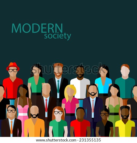 vector flat  illustration of society members with a large group of men and women. population. modern society concept - stock vector