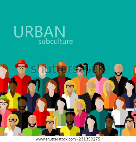 vector flat  illustration of society members with a large group of men and women. population. urban subculture concept - stock vector