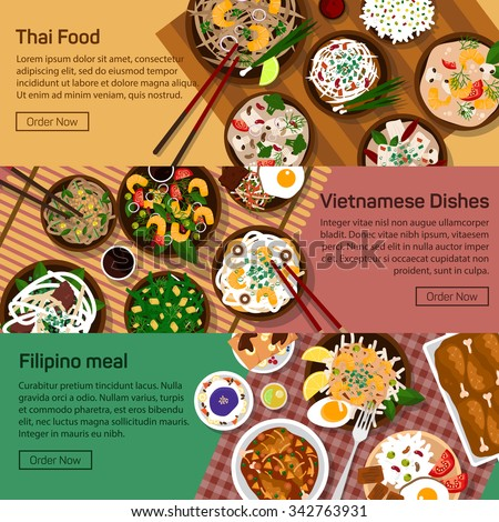 Vector flat illustration of thai, vietnam, philippines national dishes. Salads and meat meals with sauce and spicy ingredients.Rice, noodles, straches, papaya, salad, paste, sauce ingridients.