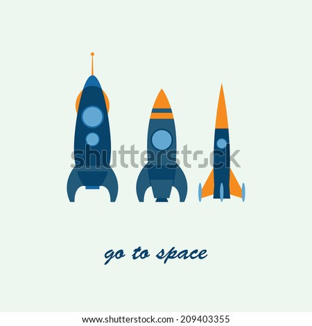 Vector flat illustration of three rockets ready to launch. Space tourism, exploration, travel to the orbit, NASA missiles, toy cartoon rockets. Concept of modern successful startup, project start - stock vector