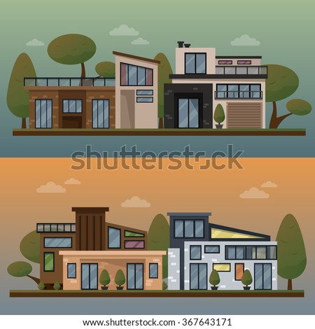 Vector flat illustration of two family house and sweet home banners outdoor street, private pavement, backyard with garage. Office architecture with beautiful plants and bushes. Private house banner - stock vector