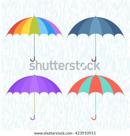 Vector flat illustration of umbrella and rain drops background. Four various types, shapes and coloration umbrellas. Infographic and design elements for webdesign, print, publish, presentation, poster